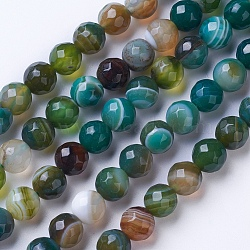 Natural Striped Agate/Banded Agate Beads Strands, Dyed & Heated, Faceted, Grade A, Round, Green, 12mm, Hole: 1.2mm; about 38pcs/strand, 14.9''(38cm)