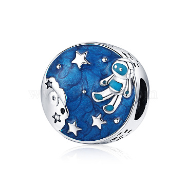 925 Sterling Silver European Beads, with Enamel, Flat Round with Astronaut, Antique Silver, Blue, 11x11mm(HJEW-FF0012-09)
