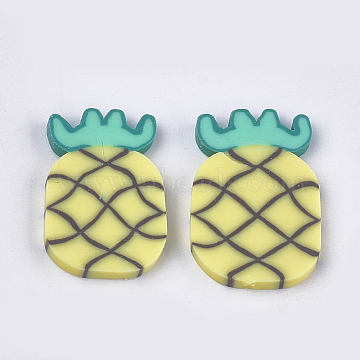 Handmade Polymer Clay Cabochons, Pineapple, Yellow, 21~23x14~16x2mm(CLAY-S091-55)