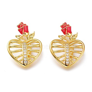 Real 18K Gold Plated Red Heart Brass+Cubic Zirconia+Enamel Pendants