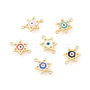 Golden Mixed Color Star Brass+Enamel Links