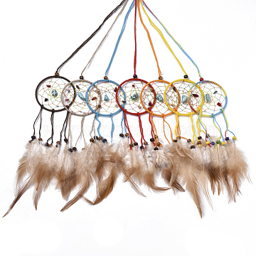 Chicken Feather Handmade Woven Net/Web with Feather Big Pendants, with Natural Wood Beads, Natural & Synthetic Gemstone, Cotton and Waxed Cord, Flat Round, Mixed Color, 190~240x62x2~8mm(AJEW-S080-007)