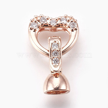 Brass Micro Pave Cubic Zirconia Fold Over Clasps, Heart, Clear, Real Rose Gold Plated, 18mm; Inner: 4mm(KK-P164-07RG)