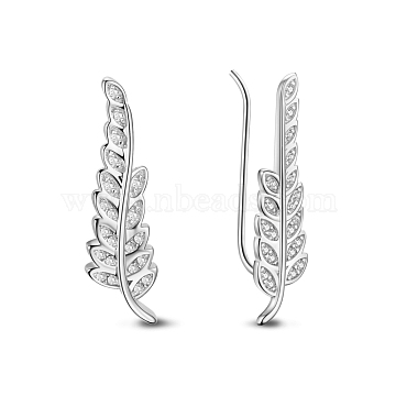TINYSAND 925 Sterling Silver Leaf Cubic Zirconia Stud Earring, Silver, 25.4x6.8mm(TS-E250-S)