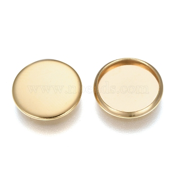 304 Stainless Steel Plain Edge Bezel Cups, Cabochon Settings, Flat Round, Golden, Tray: 12mm, 13.5x1.8mm(X-STAS-E460-10G-12MM)