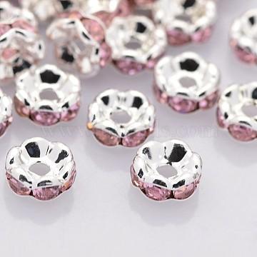 8mm Rondelle Brass+Rhinestone Spacer Beads