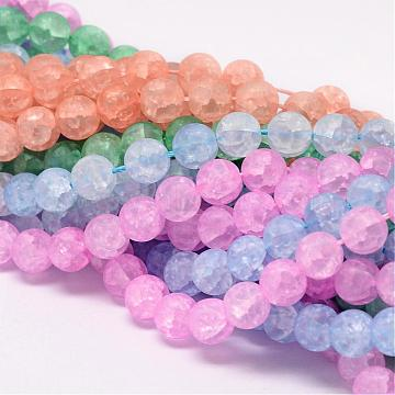 Synthetic Crackle Quartz Bead Strands, Round, Dyed, Frosted, Mixed Color, 6mm, Hole: 1mm; about 66pcs/strand, 15.75inches(CCG-K002-6mm-M)