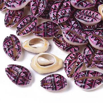Printed Natural Cowrie Shell Beads, No Hole/Undrilled, with Triangle Pattern, Purple, 18~21x12~15x7mm(X-SSHEL-R047-01-E04)