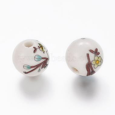Perles rondes en céramique de porcelaine imprimées à la main(X-PORC-Q199-12mm-17)-2