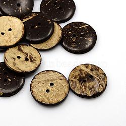 Boutons de noix de coco, 2-trou, plat rond, coconutbrown, 30x5mm, Trou: 3mm(COCO-I002-100)