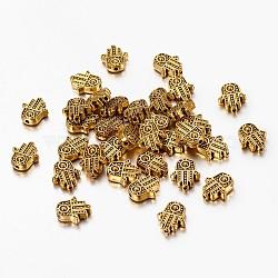 Alliage de style tibétain hamsa main / main de fatima / main de perles de miriam, sans plomb, Or antique, 12x10x4mm, Trou: 1.5mm(X-TIBEB-7722-AG-RS)