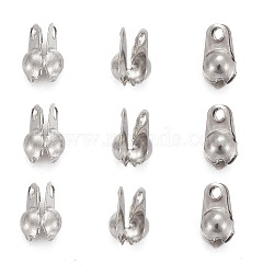 304 Stainless Steel Smooth Surface Bead Tips, Calotte Ends, Clamshell Knot Cover, Stainless Steel Color, 6.5x4x2.5mm, Hole: 1mm, Inner Diameter: 2mm(X-STAS-D150-02P)