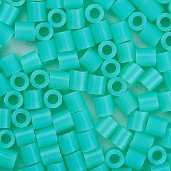 1 boîte 5 mm perles fondantes pe bricolage en perles à repasser recharges perler perles pour les enfants, Tube, aigue-marine, 5x5mm, trou: 3 mm; environ 500 / boîte(DIY-X0047-95-B)