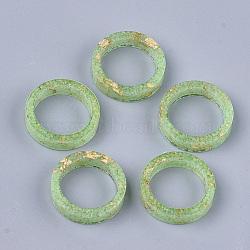 кольца из эпоксидной смолы, золотой фольгой, светящиеся / светящиеся в темноте, lawngreen, Размер 8, 17.5 mm(RJEW-T007-01C-06)