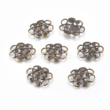 Alloy Rhinestone Connector Settings, Lead Free and Cadmium Free, Flower, Antique Bronze Color, about 33.5mm long, 27mm wide, 3.5mm thick; Fit for 2mm rhinestone(EA10670Y-1AB)