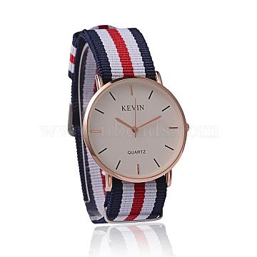 Nylon Cord Wristwatches, Quartz Watches, with Alloy Watch Head, Rose Gold, Colorful, 260x20mm, Watch Head: 42x38x8mm(WACH-L038-A02)