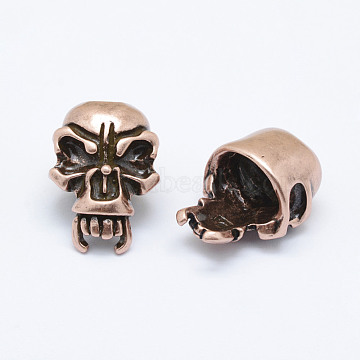 Brass Skull Beads, Long-Lasting Plated & Environmental, Cadmium Free & Nickel Free & Lead Free, Red Copper, 21x15x12mm, Hole: 6mm(KK-P130-058R-NR)