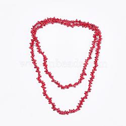 Colliers à deux niveaux avec perles de corail de bambou de mer (imitation de corail), colliers double couche, rouge, 44.8'' (114 cm)(NJEW-S414-29)