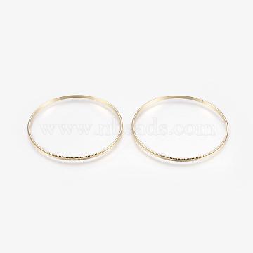 Iron Bangles, Light Gold, 2-1/2inches(6.5cm), 3mm(BJEW-F348-03KCG)