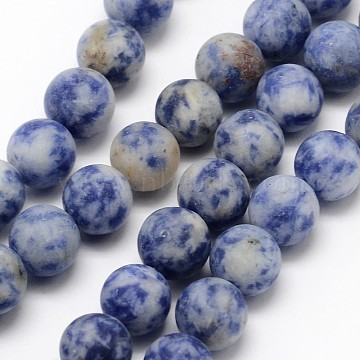 Natural Blue Spot Jasper Round Bead Strands, Frosted, Round, 14mm, Hole: 1mm, about 27pcs/strand, 14.8 inches(G-D679-14mm)