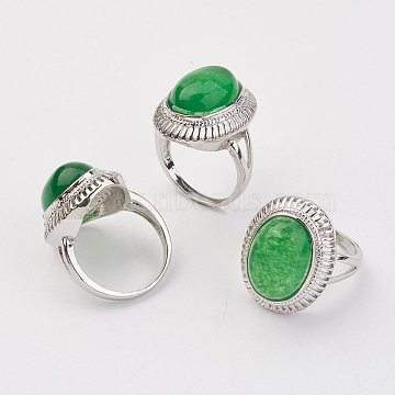 Dyed Natural Malaysia Jade Finger Rings, with Alloy Ring Finding, Platinum, Oval, Size 8, 18mm(X-RJEW-P122-17)