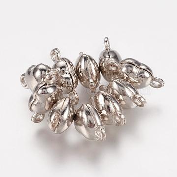 Brass Magnetic Clasps, Nickel Free, Heart, Platinum, 17x10x6.5mm(X-MC029-NF)
