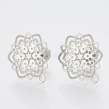 304 Stainless Steel Stud Earring Findings, with Loop, Flower, Stainless Steel Color, 17x14.5mm, Hole: 1mm, pin: 0.7mm(X-STAS-S079-30B)