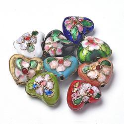 perles en cloisonné main, cœur, couleur mélangée, 13~14x16x8 mm, trou: 1.5 mm(X-CLB-S006-08)
