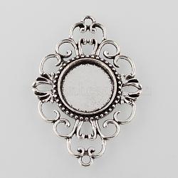 серебра антиквариата тибетский стиль сплава филигранные ромб кабошон параметры соединителя, лоток: 17 мм; 53x37x3 мм, отверстия: 2 mm(X-TIBE-M022-08AS)