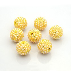 Chunky Resin Rhinestone Bubblegum Ball Beads, AB Color, Round, Gold, 20x18mm, Hole: about 2.5mm(RESI-S256-20mm-SAB10)