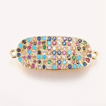 27mm Colorful Oval Brass+Cubic Zirconia Links