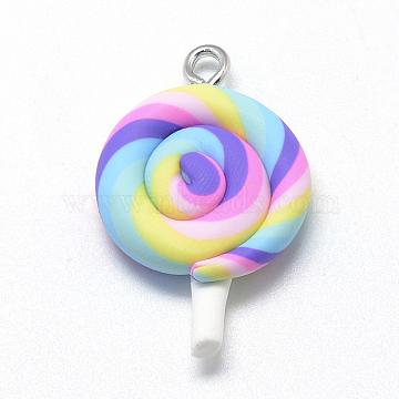 Handmade Polymer Clay Pendants, Lollipop, Hot Pink, 28~33x19~21x6~7mm, Hole: 2mm(X-CLAY-Q240-010A)