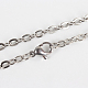 Classic Plain 304 Stainless Steel Mens Womens Cable Chain Necklace Makings(STAS-P045-03P)-1