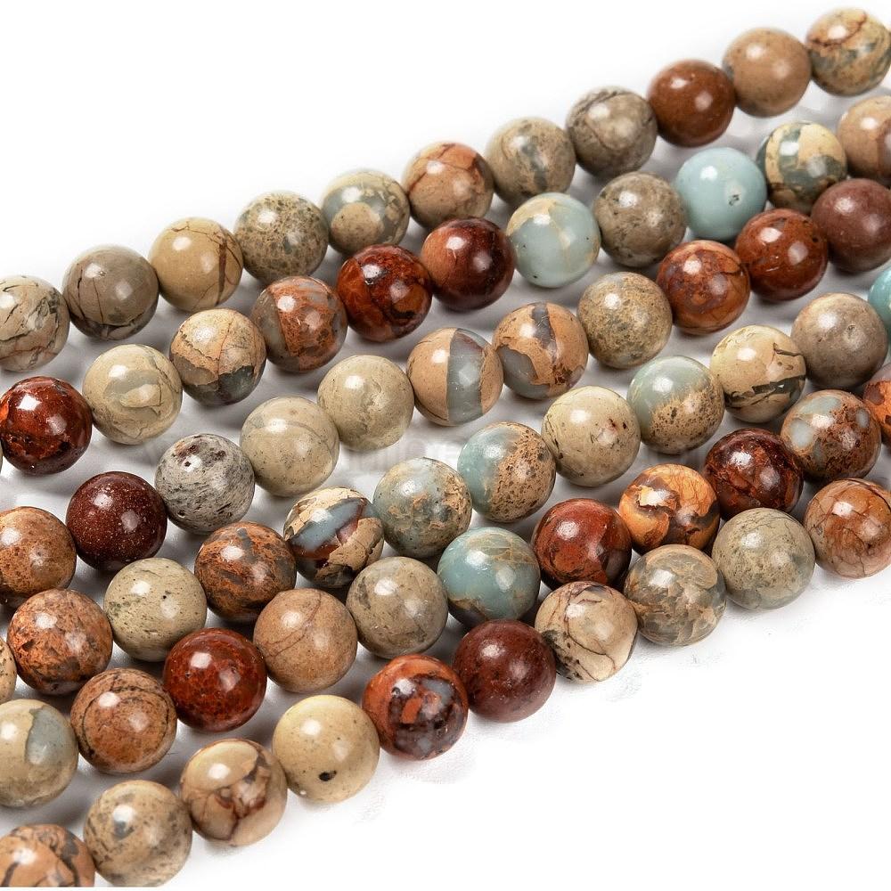 Blue #JASP-034 Aqua Terra and white gemstone stone beads 15 strand of 6mm round ball tan Jasper
