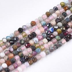 """Chapelets de perles en pierres naturelles mélangées, facette, rond, 3x2~3mm, trou: 0.5mm; environ 162~165 pcs/chapelet, 15.3""""~15.5""""(X-G-T108-39)"""