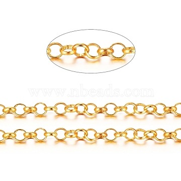 Brass Rolo Chains, Belcher Chains, Soldered, Long-Lasting Plated, with Spool, Cadmium Free & Nickel Free & Lead Free, Golden, 4x1.2mm, about 16.4 Feet(5m)/roll(X-CHC-S008-002B-G)