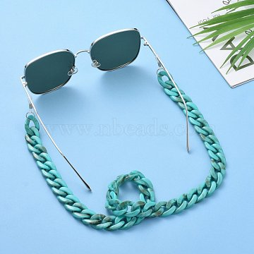 Eyeglasses Chains, Neck Strap for Eyeglasses, with Acrylic Curb Chains, 304 Stainless Steel Jump Rings and Rubber Loop Ends, Light Sea Green, 27.56 inches(70cm)(AJEW-AL0009-05)