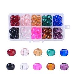 стеклянные шарики европейца, большие шарики отверстия, Нет металлическим сердечником, Rondelle, cmешанный цвет, 15x10 mm, отверстие: 5 мм; 10 цветов, 8 шт / цвет, 80 шт / коробка