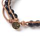 Natural Tiger Eye Cord Beaded Bracelets(BJEW-E351-02G)-4