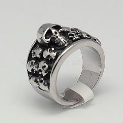 Bijoux de halloween anneaux large de la bande de rétro hommes personnalisés, Anneaux de crâne en 316 acier inoxydable, argent antique, 17~23mm(RJEW-F006-239)