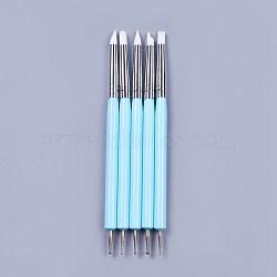 Outils de point d'art de double tête de silicone, stylos pinceaux à ongles, peinture pinceaux de ligne de dessin, avec tube en laiton et acrylique, bleu ciel, 14.6~14.7x0.7 mm; 5 pcs / set(AJEW-L072-54A)