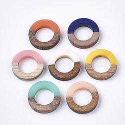 Anneaux de liaison en résine et bois, anneau, couleur mixte, 18x4mm(X-RESI-S358-21)