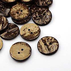 Boutons de noix de coco, 2-trou, plat rond, coconutbrown, 34x5.5mm, Trou: 4mm(X-COCO-I002-101)