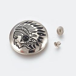 alliage et imitation turquoise artisanale rivet solide vis, bricolage en cuir artisanat ongles, plat rond avec tête d'Indien, noir, 30x9 mm; vis: 5x4 mm et 7x3 mm(PALLOY-WH0017-04C)