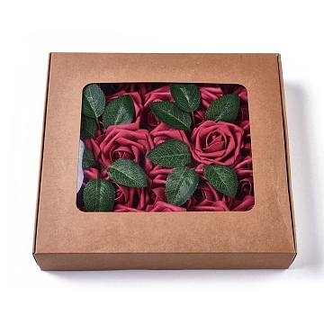 Foam Artificial Rose Flower, Fake Flower Stem, for DIY Bouquets Wedding Party Home Decorations, DarkRed, 21~23x6.5~8cm, 25pcs/box(AJEW-CJ0004-02)