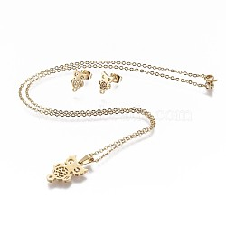 304 Stainless Steel Jewelry Sets, Stud Earring and Pendant Necklaces, Owl, Golden, 17.3inches~18.2inches(44~46.3cm); 11x7x1mm; Pin: 0.8mm(X-SJEW-P159-20G)
