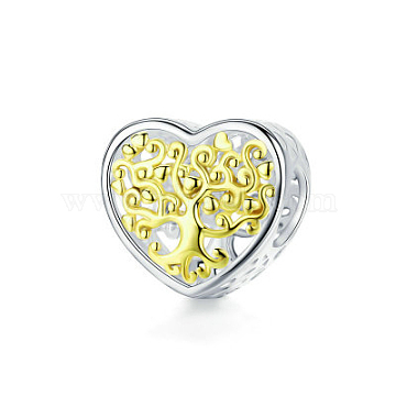 925 Sterling Silver Euorpean Beads, Carved 925, Large Hole Beads, Heart with Tree of Life, Real 18K Gold Plated & Platinum Plated, 11x12mm(STER-FF0013-04)