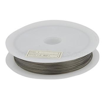 Fil de queue de tigre, acier revêtu de nylon, gris argenté, 0.3 mm de diamètre, environ 50 m / bibone (X-L0.3MM01)