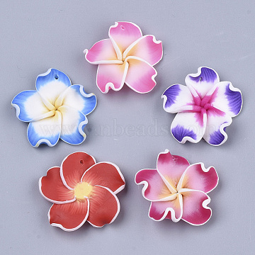 Handmade Polymer Clay Pendants, Flower, Mixed Color, 30~32x6~8mm, Hole: 1.5mm(CLAY-R088-04)