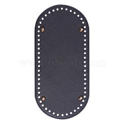 Cuir ovale bas long pour sac à tricoter, accessoires de bricolage fait main, noir, 25x12x1.1 cm, trou: 0.5 cm(FIND-WH0032-01A)